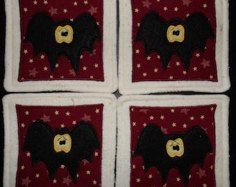 Primitive Whimsical Halloween BLACK BATS Coasters Mug Mats Hot Pads Trivets