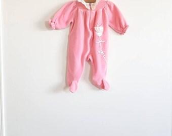Vintage Pink Velour Baby Sleeper