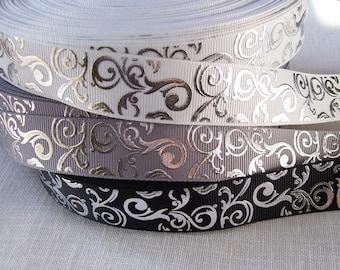 Grosgrain Ribbon print - white, grey or black * 22 mm * VOLUTE ARABESQUE metallic silver - sold by the yard
