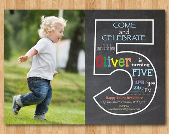 Chalkboard 3rd birthday invitation with picture third chalkboard 5th birthday invitation with picture fifth birthday invite with photo baby boy or stopboris Image collections