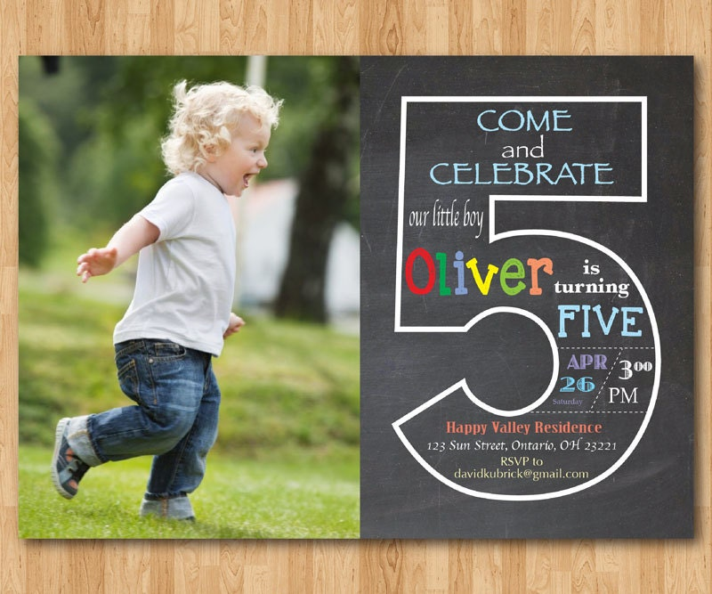 Chalkboard 5th birthday invitation with picture fifth zoom filmwisefo