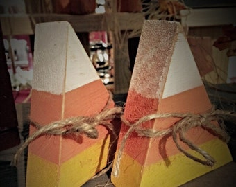 Candy corn. Set of 3 wooden candy corn. Fall decor.  Wooden fall decorations. Halloween decor. Halloween decorations. Rustic fall decor