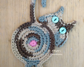 Crochet Cat Butt Coaster - funky, mother's day, coaster,table decoration, house warming, teacher's gift, home decor, birthday present.