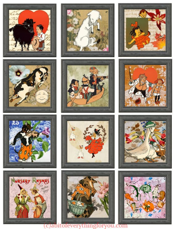 downloadable collage sheet printable vintage mother goose nursery rhymes clip art digital  2 inch squares childrens book images diy jewelry