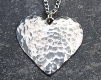 Hammered Heart Pewter Pendant