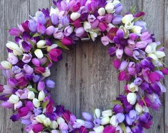 Purple Tulip Wreath, Purple, Lavender, White, Summer Wreath, Spring Wreath, Outdoor Wreath, Mother's Day