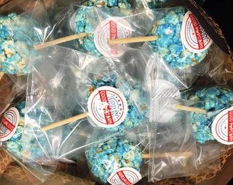 12 Gourmet Light Blue Old Fashioned Popcorn Balls on a Stick