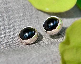 Black Onyx Earrings in Sterling Silver, Silver Stud Earrings, Onyx Post Earrings, Abish Jewelry Works