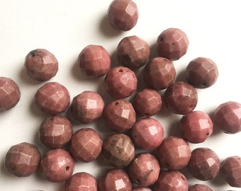 Rhodonite 10mm Faceted Rounds