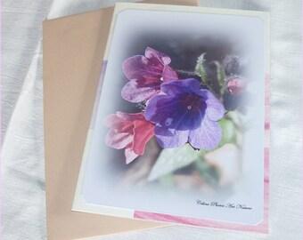 Carte double Trio de fleurs roses  10,5x15cm de Céline Photos Art Nature