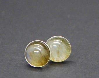 Smooth Labradorite Stud earrings - Sterling Silver - 8mm