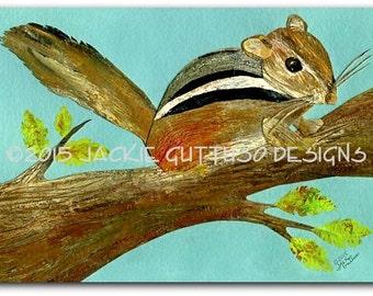 "Chipmunk art print, 5 x 7"" Giclee print, Woodland nursery wall art, Chipmunk collage, Acrylic chipmunk art, Forest nursery, Mountain animal"
