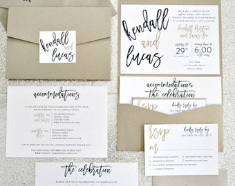 Kendall Calligraphy Pocketfold Wedding Invitation Suite With Monogram Seal    Ivory, Champagne Gold, Black