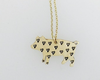 Mini Heart Pig Yellow Gold Necklace-14KT Gold Filled-Yellow Gold-Vegan Necklace-Vegan Jewelry-Vegan Gift-Pig necklace-Birthday-Anniversary