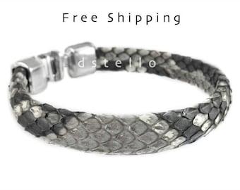 Bracelet python skin, snakeskin, real snake, python bracelet, mens bracelet, genuine, silver color hammered clasp, gift,