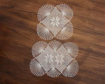 6 Matching Crocheted Doilies Set Beige Ecru Vintage Handmade Crochet Lace