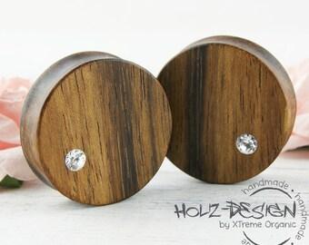 10-70mm PAIR Swarovski (R) Elements wooden Flesh tunnel Rhinestone Ear plugs flesh Gauge piercing organic plugs natural stretched ear holes