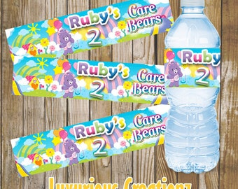 Care Bear Water Labels-Digital File