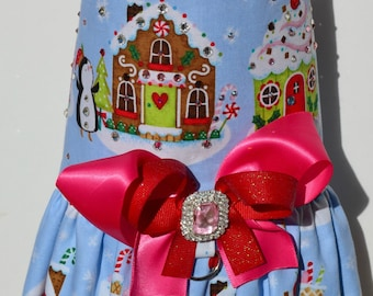 Dog Harness Vest - Penguins and GingerBread Houses Bling Bow Harness - Winter