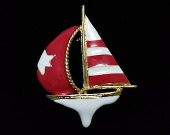 Vintage Enamel Brooch Sailboat