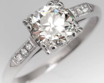 Antique Engagement Ring - 1930s 1 Carat Old European Cut Diamond W Single Cut Diamonds - Art Deco Platinum Engagement Ring - WM12762