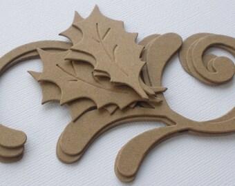 3 HOLLY FLOURISH - Decorative Swirls - Christmas Bare CHiPBOARD Die Cuts