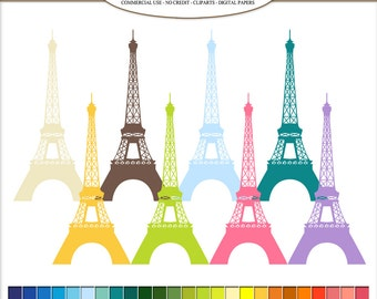 Clip Art Paris travel, Eiffel tower Digital illustrations in 50 rainbow colors. City landmark PNG, clipart, image Commercial Use