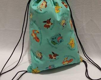 Aqua Pokemon Drawstring Backpack