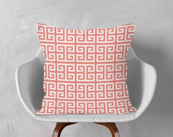 White Coral Pink Pillow, Greek Keys Decorative Cushion Cover, Geometric Throw Pillow, 16x16 18x18 20x20, Pink Pillow Case, Accent Cushion
