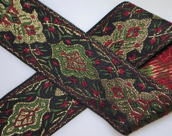 Elegant Medallions Woven Jacquard Trim 1&3/8 inches wide - One, Two, Five, or Ten Yards