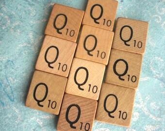 10 LETTER Qs .. Ten VINTAGE Scrabble Tiles .. 10 good condition wooden squares for your pendants, art, scrapbook project ..