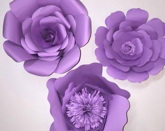 Set of 3 Paper Wall Flowers, Paper Flowers, Wedding Decor, Nursery Flowers, Home Decor, Card stock Flowers, Shower Decor, Photo Backdrops