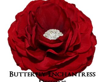 Spanish Red Moroccan Rose Bridal Hair Flower Clip - Rhinestone Center