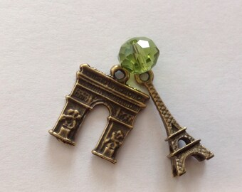 Eiffel Tower Arc de Triomphe Paris Bronze Metal Charms Austrian Crystal Green Bead Set of 3  Findings - Make your own Necklace or Earrings