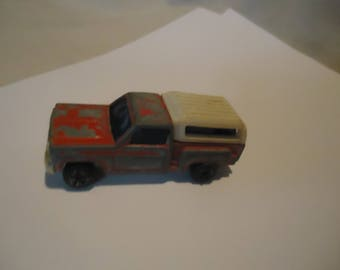Vintage Red Chevrolet Pickup Truck With Camper Toy. collectable