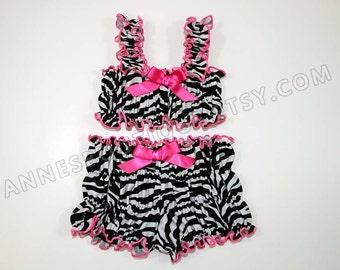 Children's Black and White Zebra Ruffle Bikini Swimsuit Tankini Set