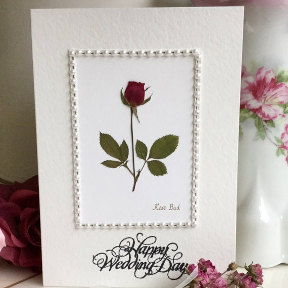 Wedding wishes rose flower card happy wedding day marriage wedding wishes rose flower card happy wedding day marriage wishes pressed flower greeting card rose framed with pearls m4hsunfo Images