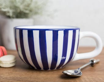 City to Cottage Navy Blue Stripe Designer Handmade Hand Painted Ceramic Extra Large 17.5oz/500ml Cappuccino Coffee Tea Soup Mug | Cup