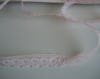 Pink heart narrow  lace trim - one half inch