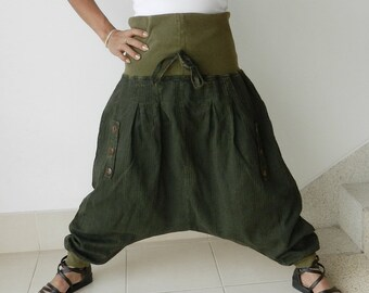 Harem Green,Three Quarter Length , Ninja, Yoga, Unique, Up To Plus Size,100% Cotton