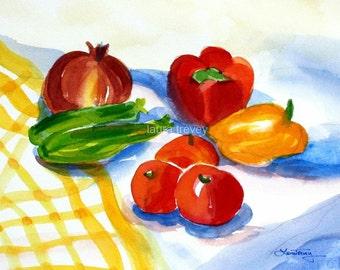 Summer Veggies Watercolor Print