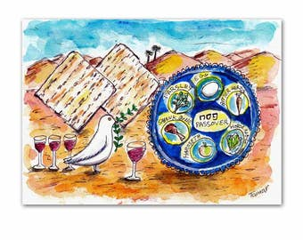 Passover Watercolor, Peace Dove, Four Glasses of Wine, Matzos and Passover Plate, Funny Jewish art, White Dove Drawing, Jewish Gift, Judaica
