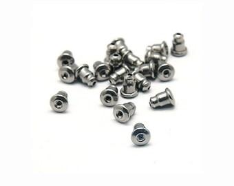 Earring back stopper stainless steel earnut hypoallergenic  5mm