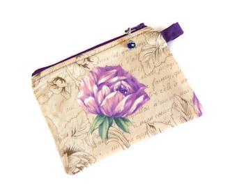 "Purple Rose Zipper Coin Purse, Earbud Case, Coin Case, Zipper Case, Coin Purse, Zipper Pouch 3.25"" x 5.5"""