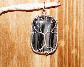 Black Sardonyx Tree of Life Pendant