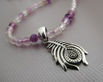 light as a feather  - sterling silver feather charm and purple flourite necklace