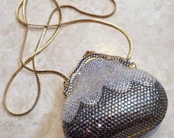 1980s Judith Leiber silver diamante minaudiere
