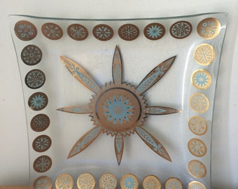 Mid Century Modern Gold and Turquoise Glass Serving Platter