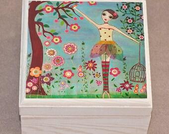 Ballerina Jewelry Box, Princess Jewelry Box, Flower Girl Gift, Trinket Box, Girls Birthday Gift, Girls Christmas Gift, ballet Dancer Gift
