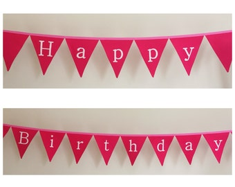 Happy Birthday Pink Fabric Bunting Banner Flags Party Decoration